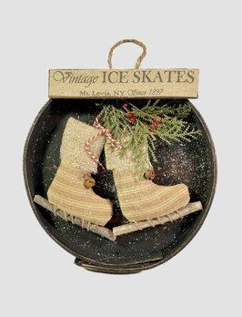 Nana's Farmhouse Vintage Ice Skates in Round Box