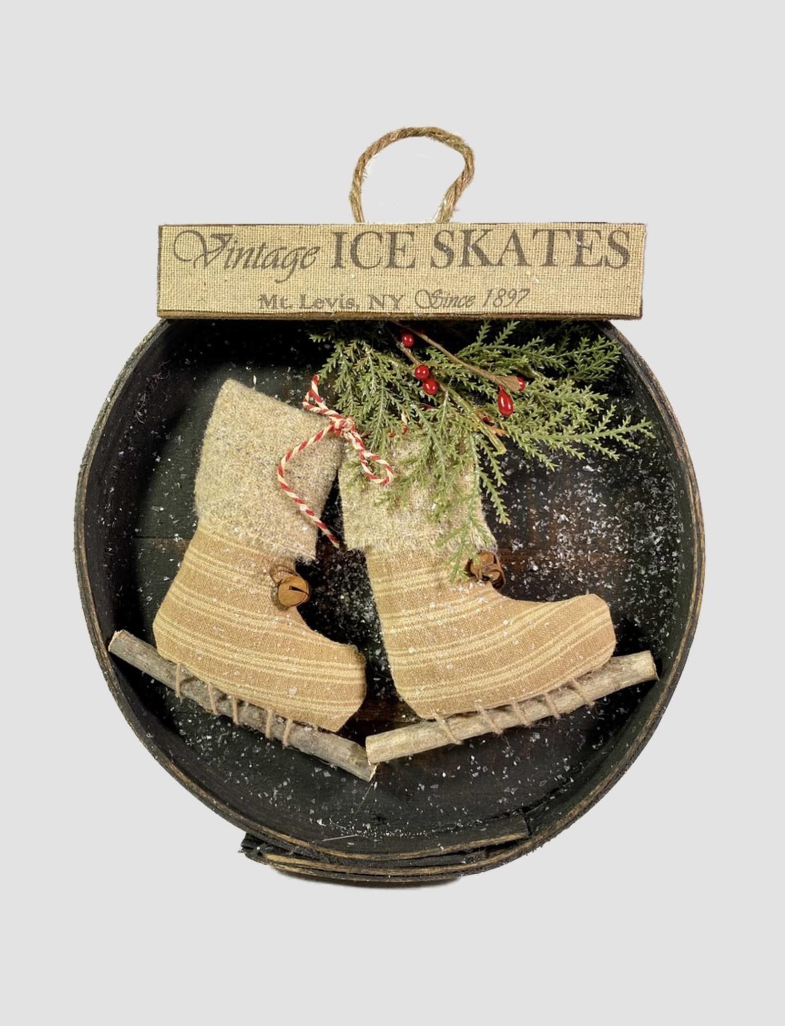Nana's Farmhouse Vintage Ice Skates Round Box  with Greens