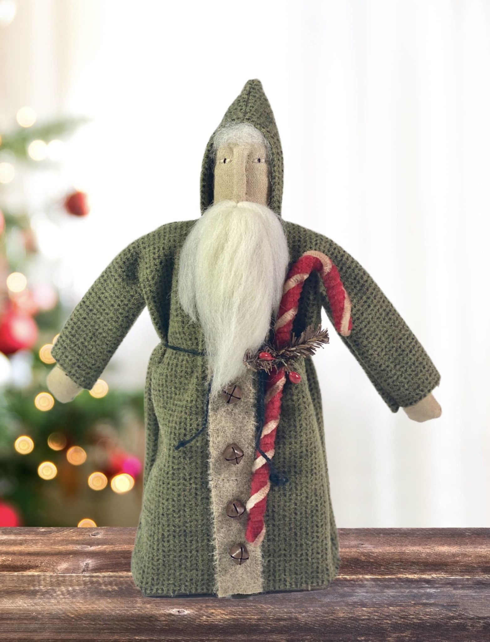 Nana's Farmhouse Green Wool Santa holding Candy Cane - 13""