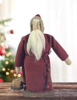 Nana's Farmhouse Red Wool Santa with Lantern