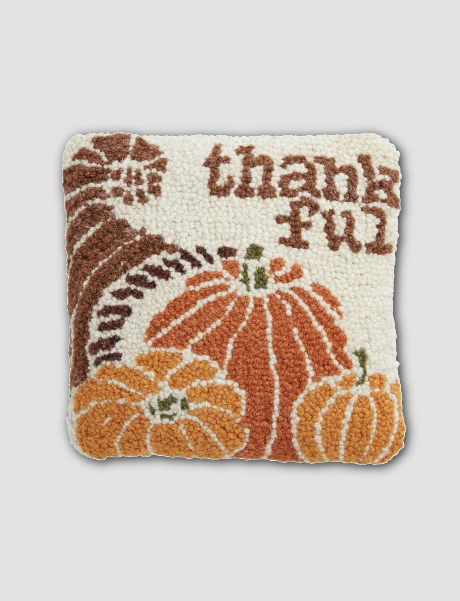 "Mud Pie Thankful Mini Hooked Pillow 8"" x 8"""