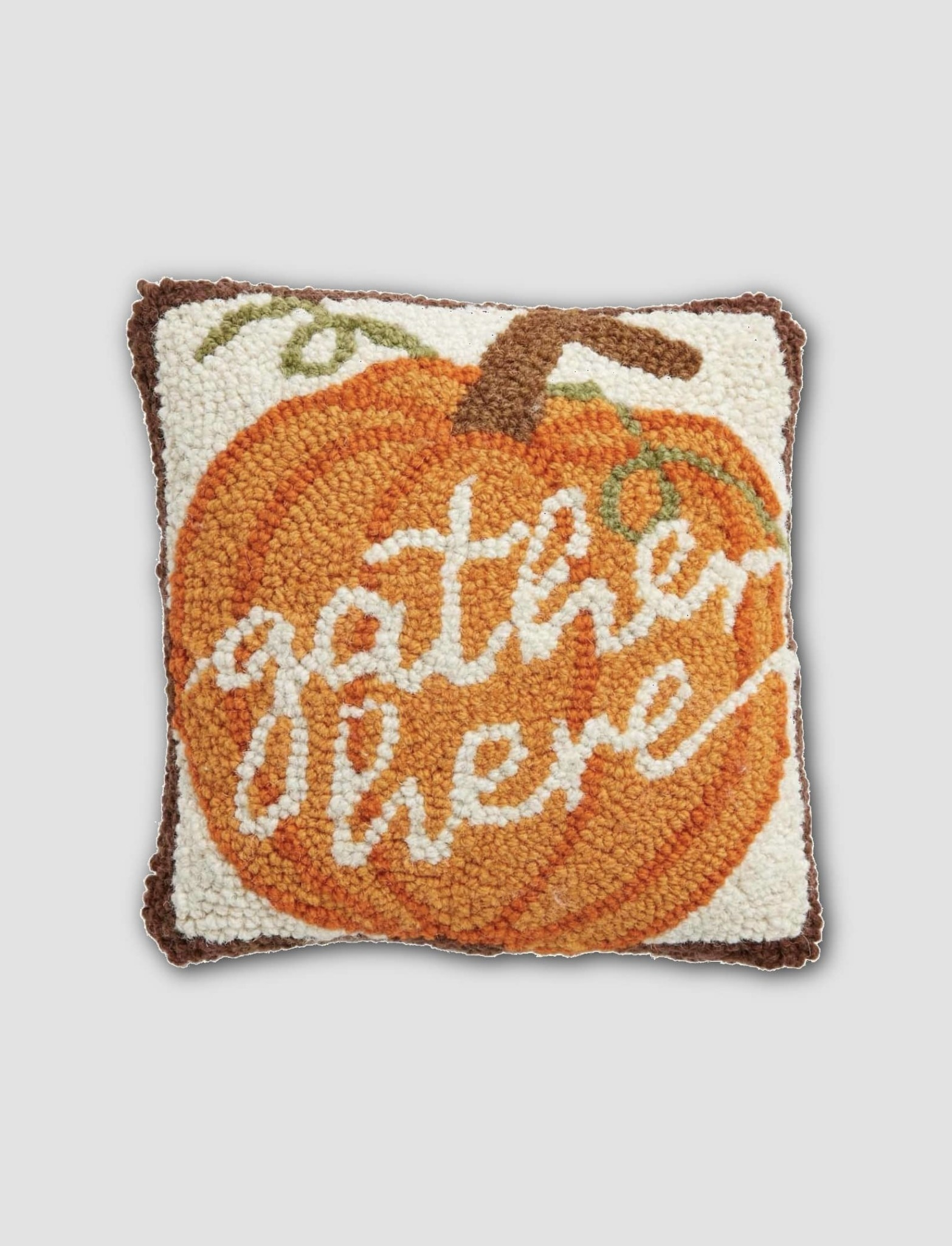 """Mud Pie Gather Here Mini Hooked Pillow - 8"""" x 8"""""""