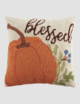 Mud Pie Blessed Hooked Wool Pillow