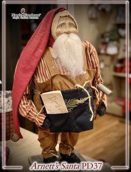 Arnett's PD37 Arnett's Santa Overalls Holding Mallet & Letter