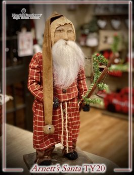 Arnett's TY20 Arnett's Santa Red Homepsun Night Shirt Holding Tree & Bell