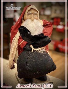 Arnett's JC10 Arnett's Santa Small Red Suit Holding Black Bag