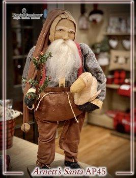 Arnett's AP45 Arnett's Santa Overalls Holding Tree & Christmas Goose