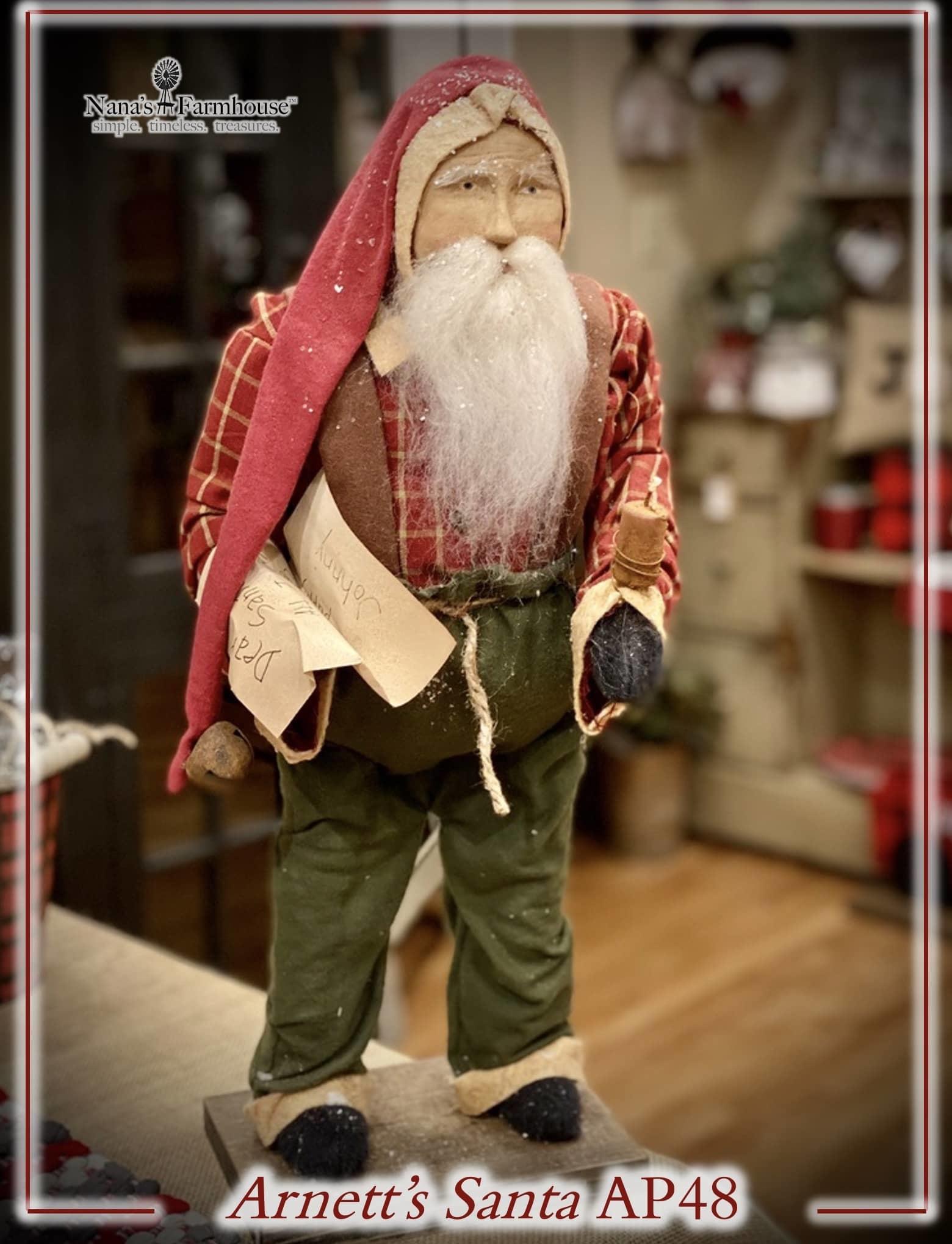 Arnett's AP48 Arnett's Santa In Overalls Holding Letter & Candle