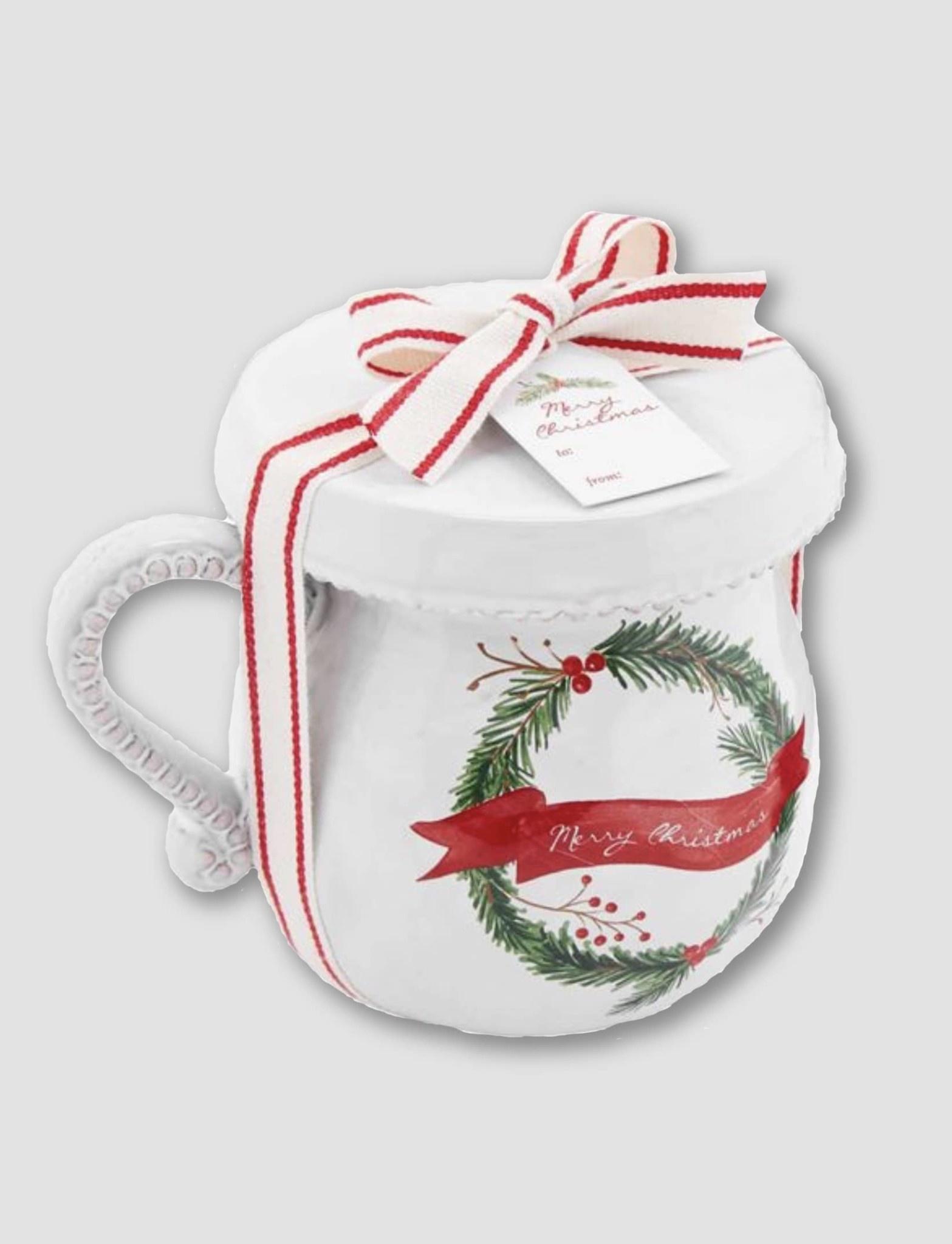 Mud Pie Wreath Christmas Tea Mug