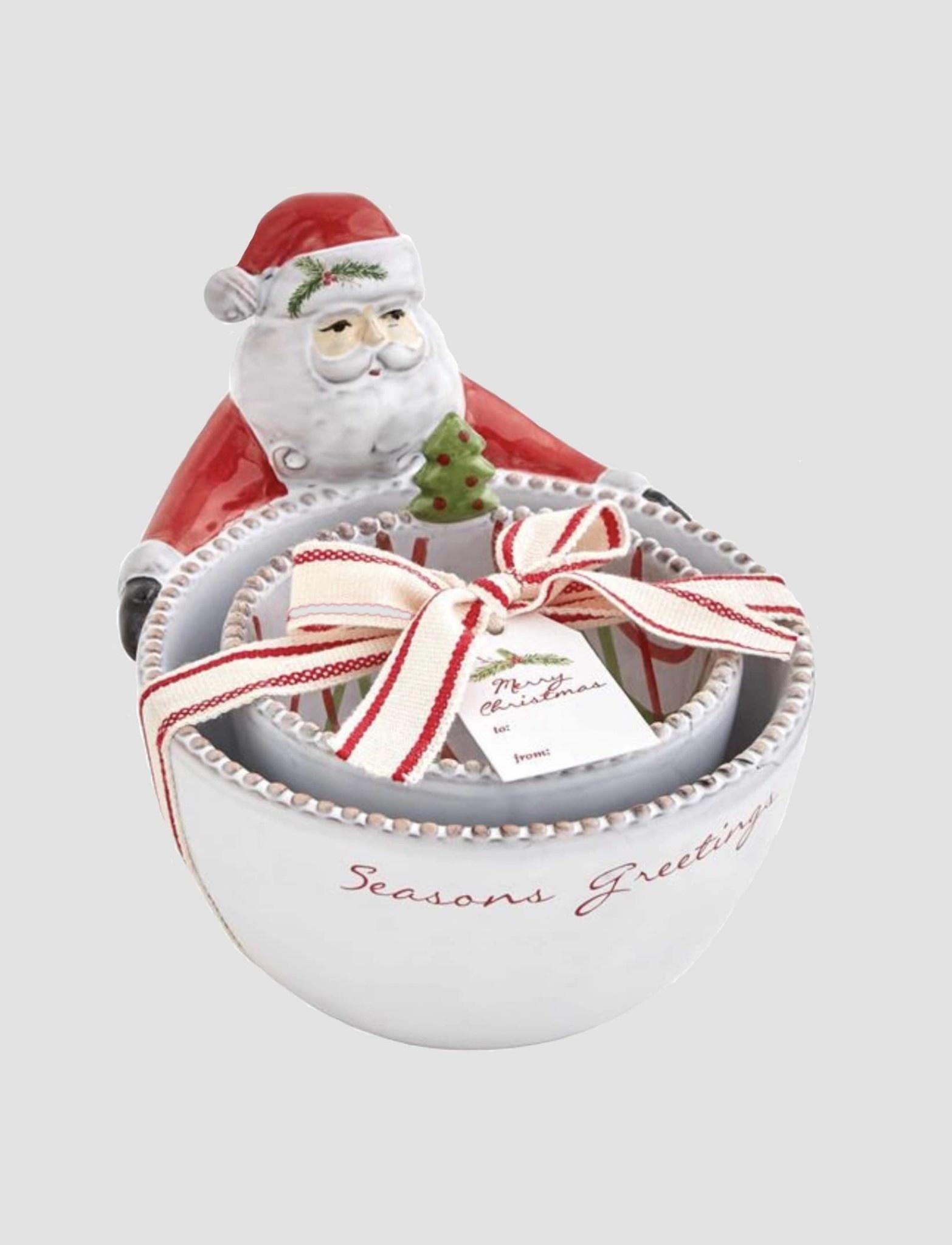 Mud Pie Seasons Santa Nested Dip Bowl Set