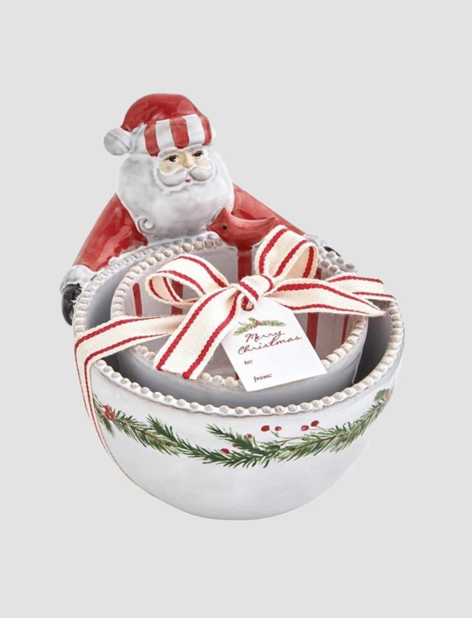 Mud Pie Wreath Santa Nested Dip Bowl Set
