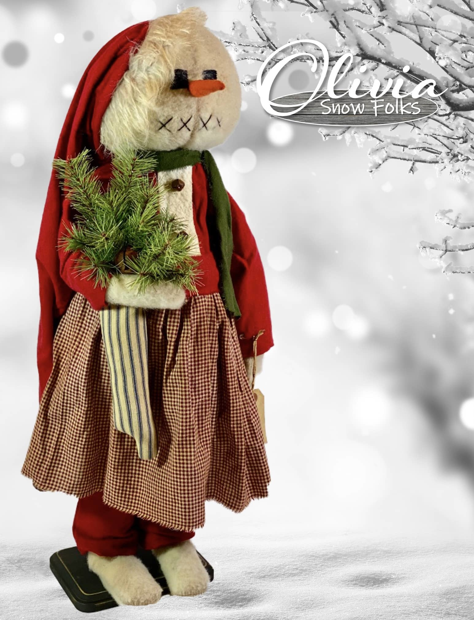 Nana's Farmhouse Olivia The Snow Girl Red Dress Holding Ticking Stocking W/Greens