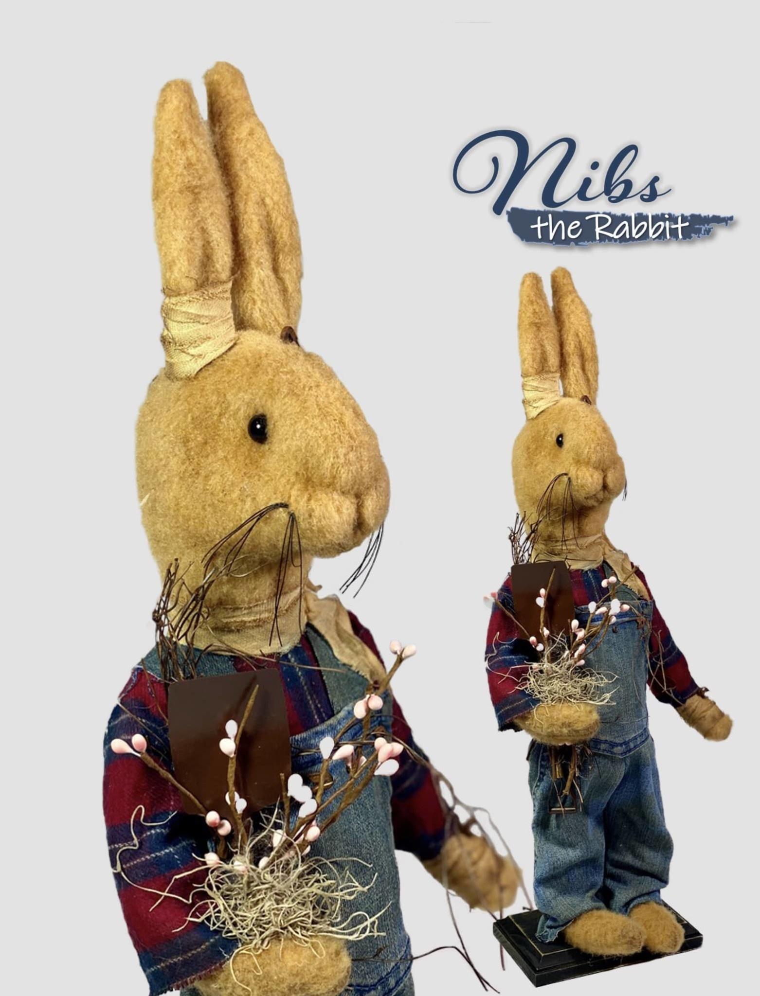 Nana's Farmhouse Nibs The Rabbit Plaid Shirt & Overalls