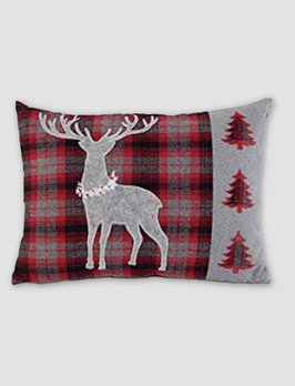Nana's Farmhouse Red & Gray Tartan Plaid Rectangle Pillow with Deer Applique