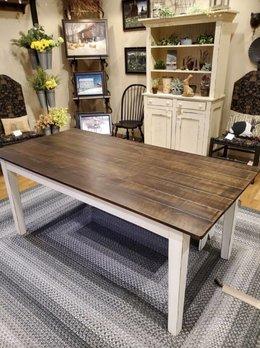 Nana's Farmhouse Farmhouse White Antique Stained Table - Plank Top