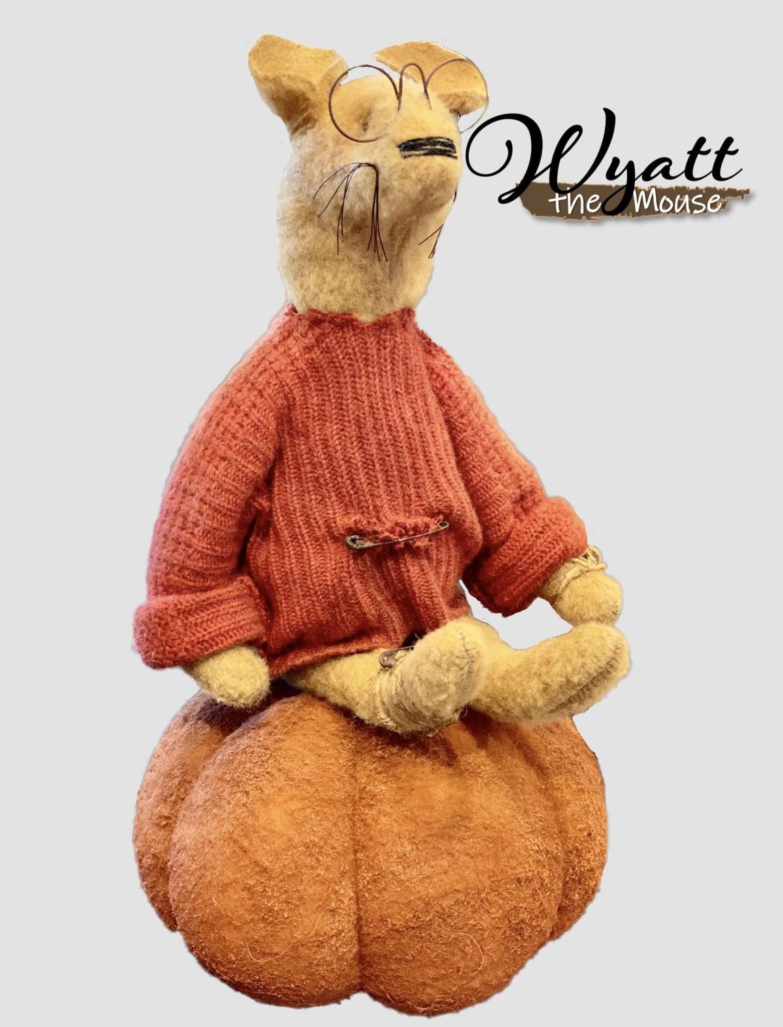 Nana's Farmhouse Wyatt The Mouse Orange Sweater Sitting On A Pumpkin