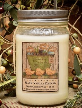 Herbal Star Candles Warm Vanilla Custard Soy Jar Candle