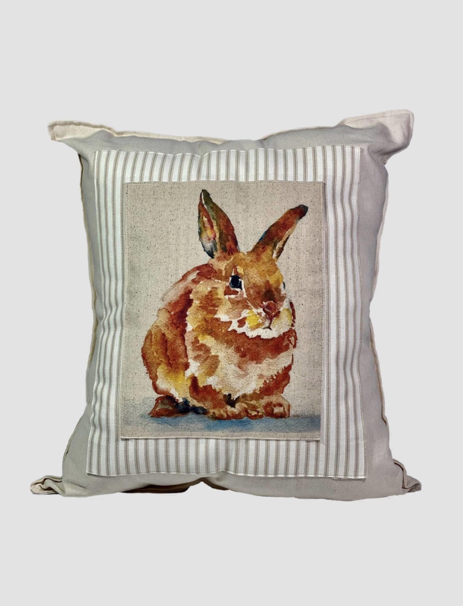 Nana's Farmhouse Bunny Pillow Tan Ticking