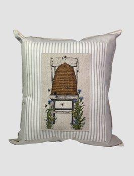 Nana's Farmhouse Skep on Chair Pillow Tan Ticking
