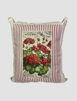 Nana's Farmhouse Geranium on Paper Pillow Red Ticking