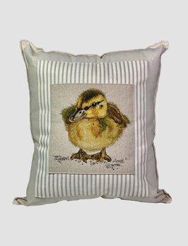 Nana's Farmhouse Duckling Pillow Tan Ticking