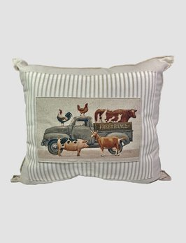 Nana's Farmhouse Animal Truck Pillow Tan Ticking