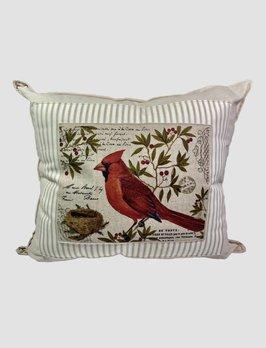 Nana's Farmhouse Cardinal on Paper Pillow Tan Ticking