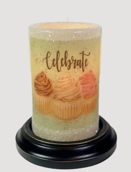 C R Designs Celebrate Cupcakes Glitter Candle Sleeve