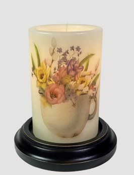 C R Designs Rusty Cup Spring Flowers Candle Sleeve