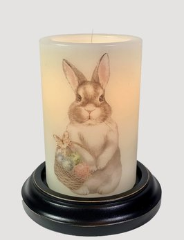 C R Designs Bunny Basket Eggs Candle Sleeve