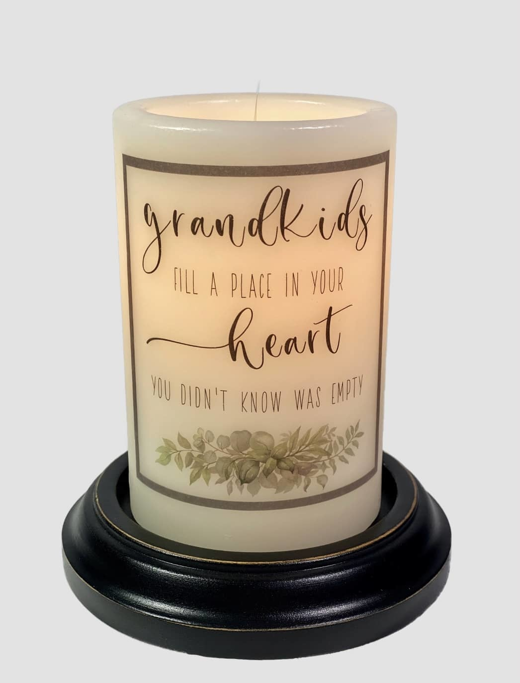 C R Designs Grandkids Fill Heart Candle Sleeve