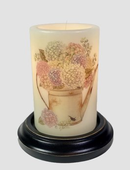 C R Designs Watering Can Hydrangea Spring Candle Sleeve