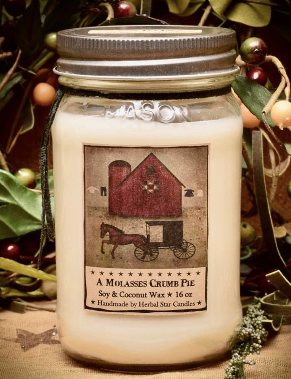 Herbal Star Candles Shoo Fly Pie Soy Jar Candle 16oz