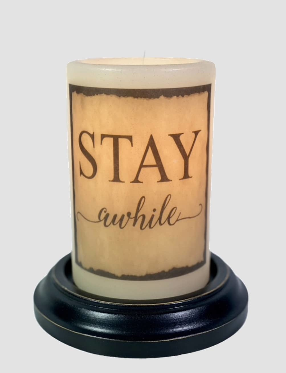C R Designs Stay Awhile Aged Candle Sleeve