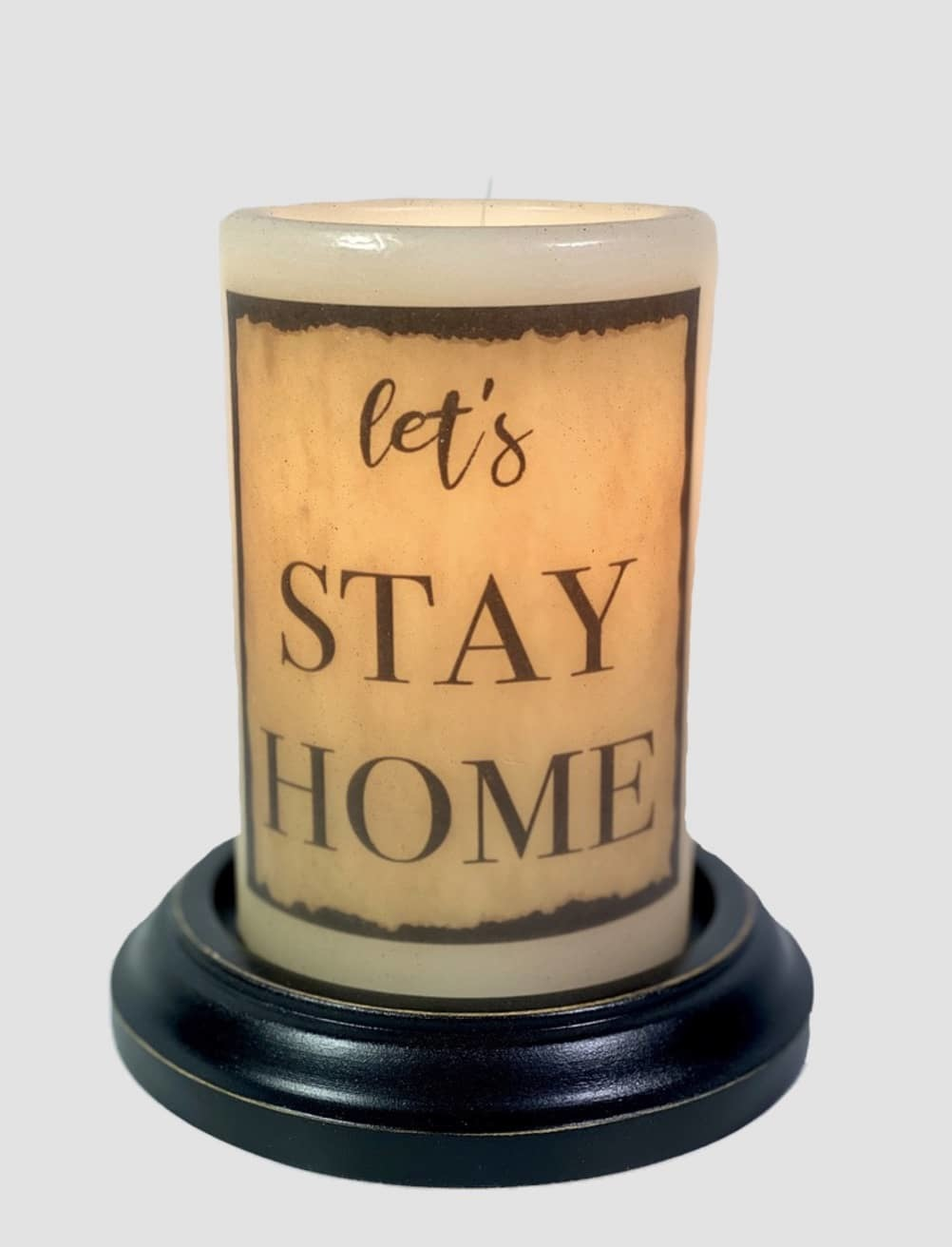 C R Designs Let's Stay Home Aged Candle Sleeve