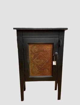 Nana's Farmhouse Black Punched Tin Accent Cabinet