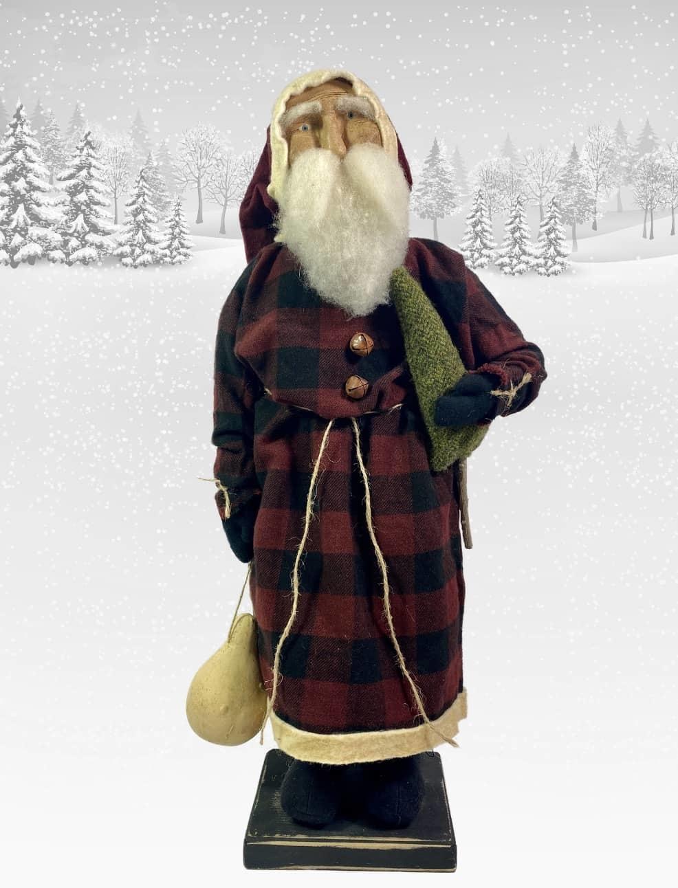 "Nana's Farmhouse Primitive Santa Buffalo Check Coat - 17"""