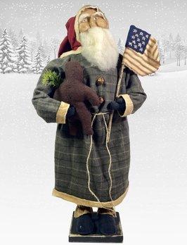 Nana's Farmhouse Primitive Santa Holding Flag & Gingerbread