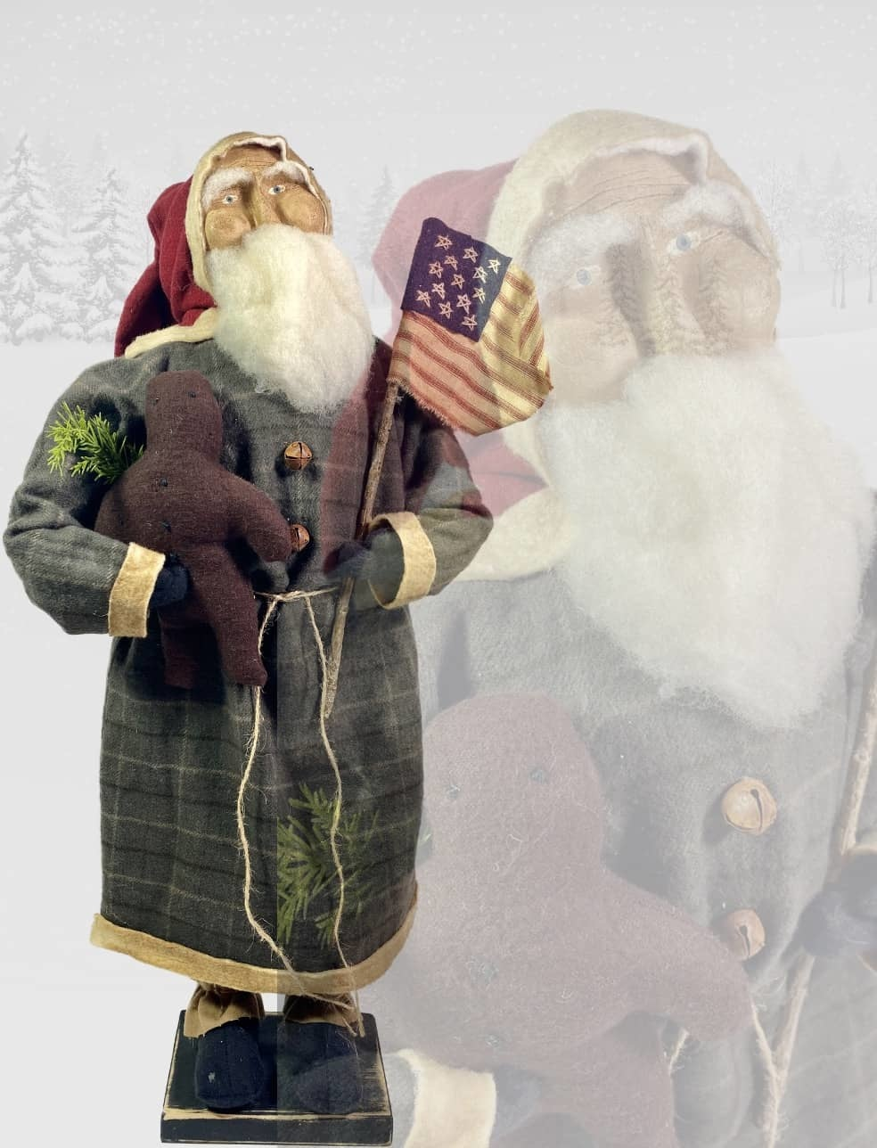 "Nana's Farmhouse Primitive Santa Holding Flag & Gingerbread - 20"" T"