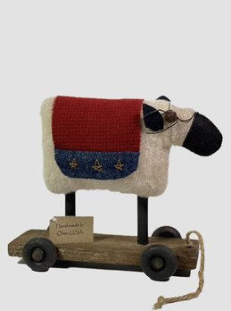 Nana's Farmhouse Americana Sheep On Cart Pull Toy