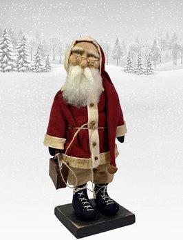 Nana's Farmhouse Primitive Santa holding Small Sled with Laced Boots & Eye Glasses