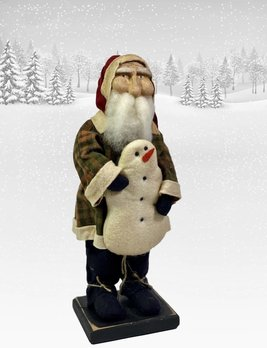 Nana's Farmhouse Primitive Santa holding Snowman