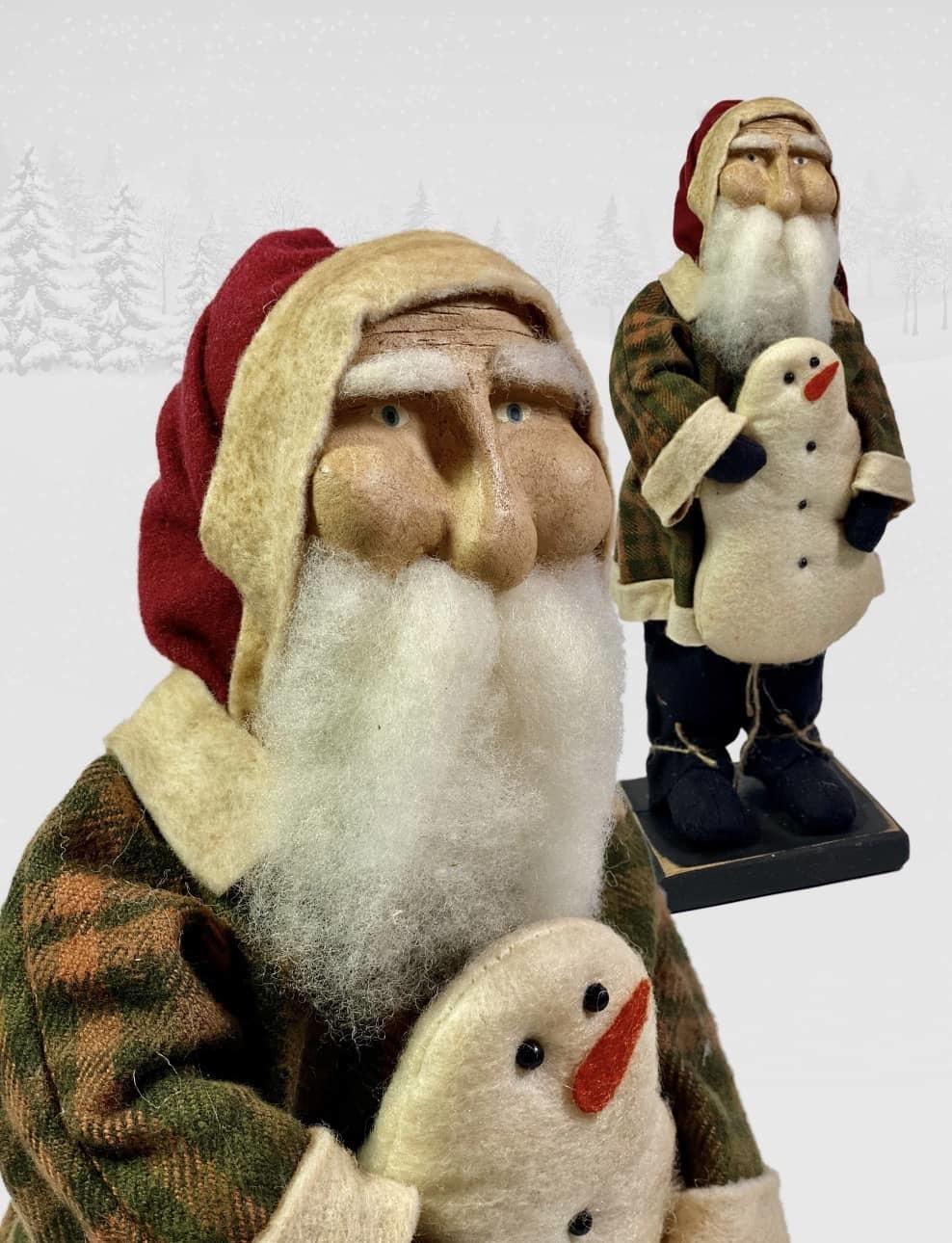"Nana's Farmhouse Primitive Santa holding Snowman - 13"" T"