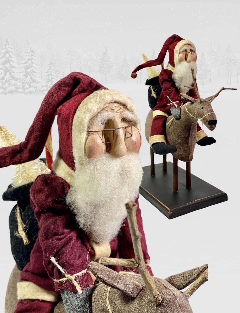"Nana's Farmhouse Primitive Santa Riding Reindeer - 14"" T"