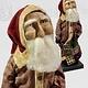 "Nana's Farmhouse Primitive Santa in Ticking Union Suit holding Quilt - 13"" T"