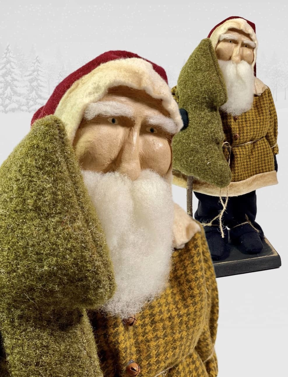 """Nana's Farmhouse Primitive Santa in Mustard Check Coat - 12.5"""" T"""