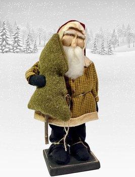 Nana's Farmhouse Primitive Santa in Mustard Check Coat