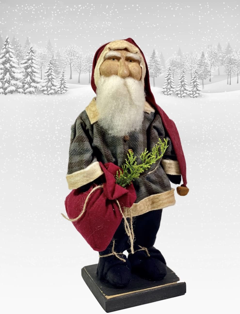 "Nana's Farmhouse Primitive Santa Blue Plaid Coat & Red Toy Bag - 13"" T"