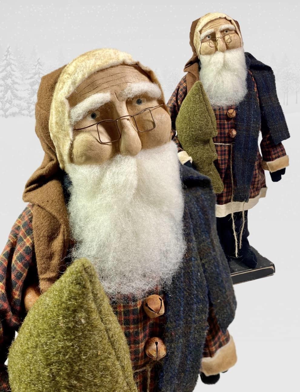 "Nana's Farmhouse Primitive Santa Plaid Coat & Eye Glasses - 17"" T"