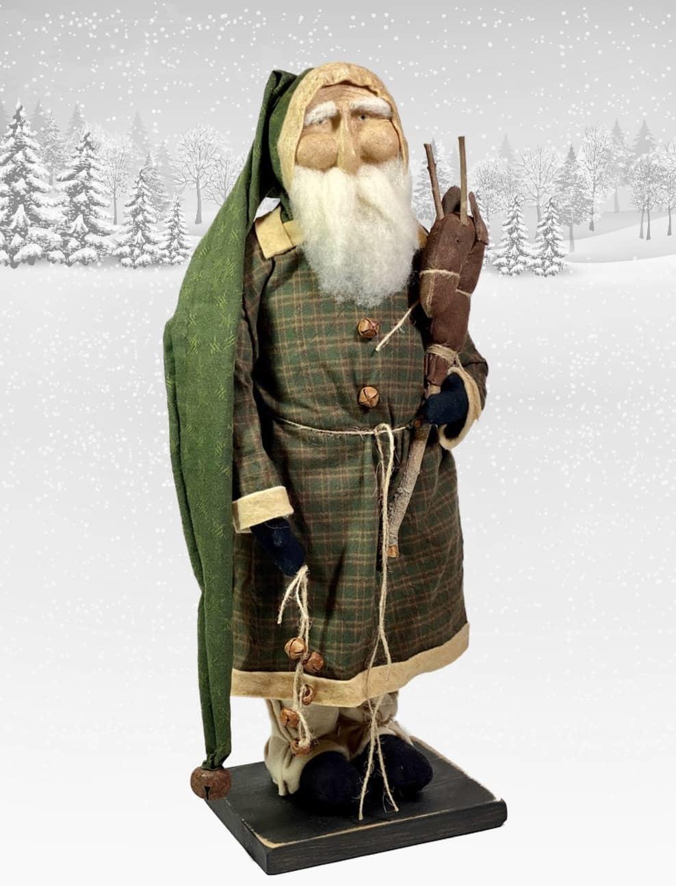 "Nana's Farmhouse Primitive Santa holding Stick Pony & Bells - 20"" T"